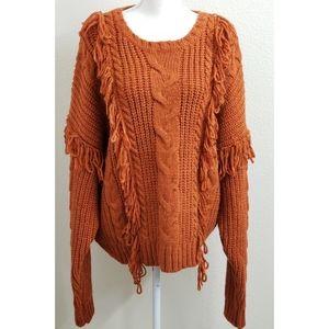 NEW - FOREVER 21 Burnt Orange Fringe Sweater